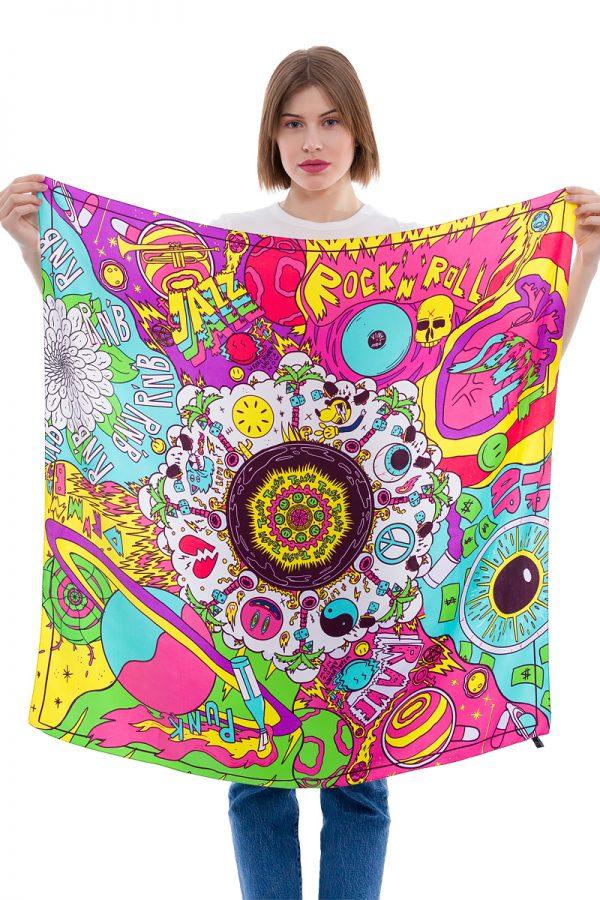 Silk Scarf Planet Music   MANTILITY   90x90cm