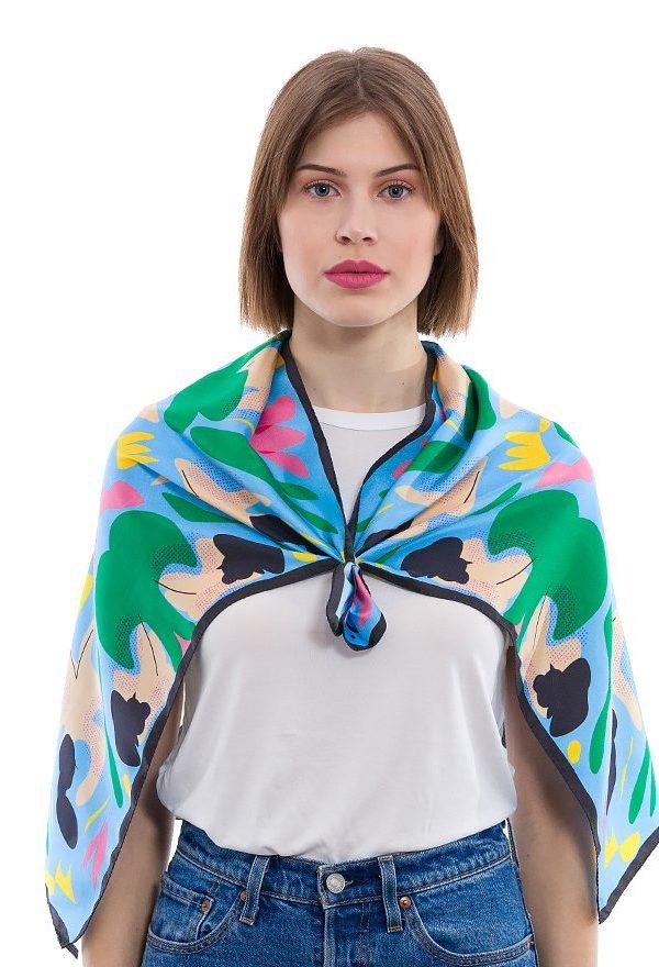 Silk scarf Four Graces & One Sorrow | MANTILITY 60x90cm