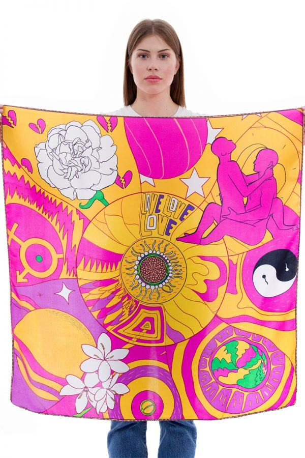 Silk Scarf Planet Love | MANTILITY | 90x90cm