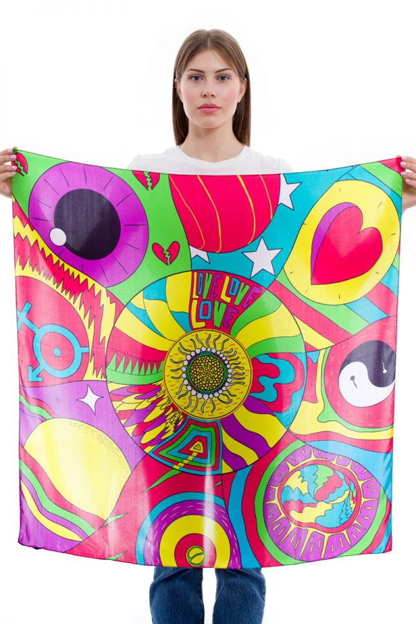 Silk Scarf Planet Love   MANTILITY   90x90cm   pop