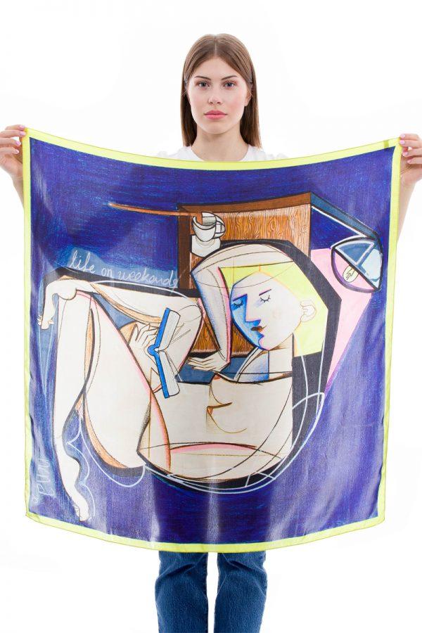 Silk Scarf Same days | Tsaprouni Elena | MANTILITY | 90x90cm